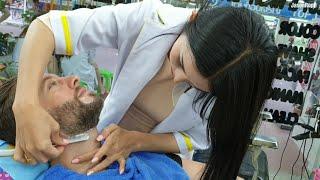 💈STRAIGHT RAZOR Beard Trim & Shape-Up Haircut by Trans LADYBOY | Nin Barbershop in PATTAYA THAILAND