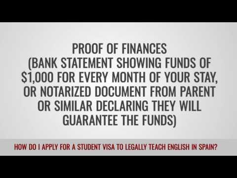 video on how to apply for a student visa to legally teach in spain