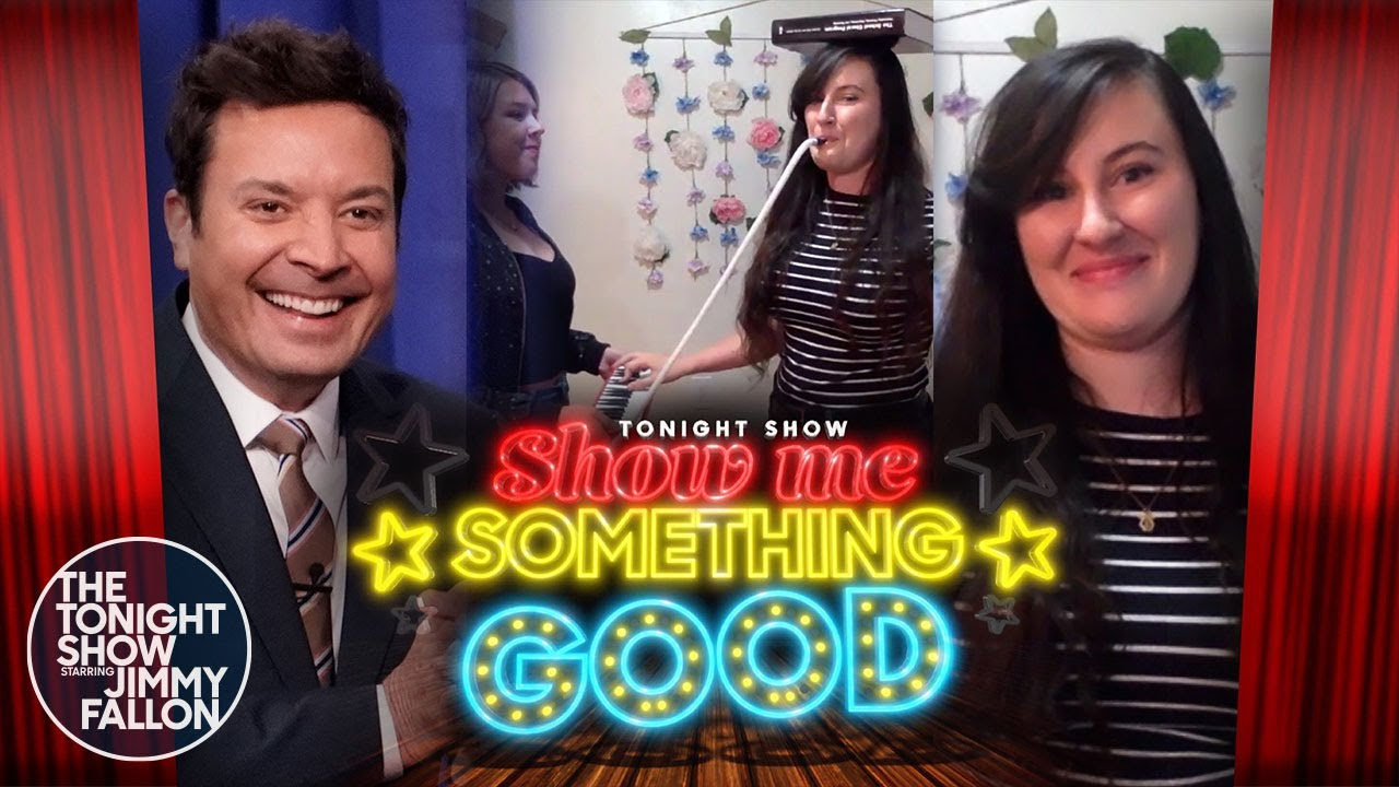 Show Me Something Good: Playing the Melodica While Spinning Color Guard Equipment | The Tonight Show