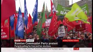 Communist Party rally for fair elections (Russia) - BBC News - 17th August 2019