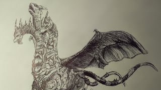 Drawing Keizer Ghidorah From Godzilla Final Wars