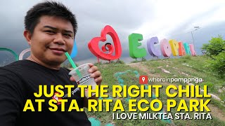 Enjoying a refreshing milk tea at Eco Park Sta. Rita