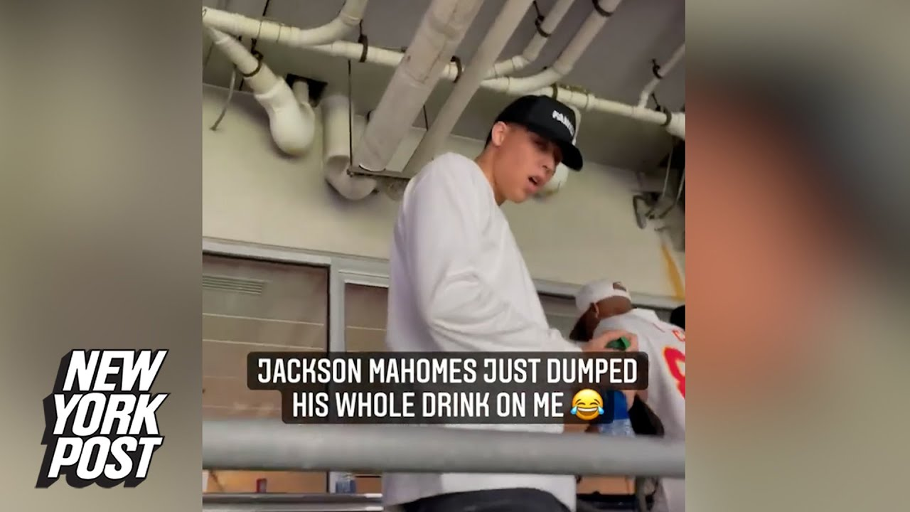 Jackson Mahomes dumps water on taunting Ravens fans in viral video | New York Post