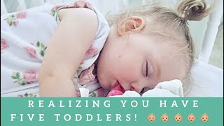 Dad Lost Count of Toddlers - Quints Meet Poodle - Comparing Baby Photos