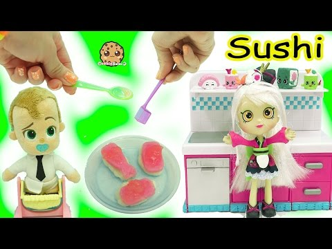 Shoppies Doll Cooks The Boss Baby Yummy Nummies Kitchen Magic Gummy Candy Sushi Surprise Food - UCelMeixAOTs2OQAAi9wU8-g