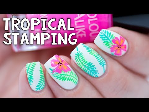 EASY TROPICAL STAMPING | Whats Up Nails Fields of Flowers Stamping Plate