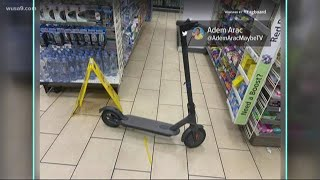 A scooter was blocking the candy aisle in 7-Eleven
