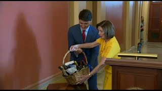 Pelosi settles NBA Finals wager with Trudeau during Washington visit