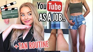 DAY IN THE LIFE OF A 'YOUTUBER'.. WHAT I ACTUALLY DO (+ TAN ROUTINE)