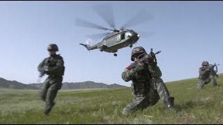 Special Forces Units of Chinese Armed Police Conduct Fast Roping Drill