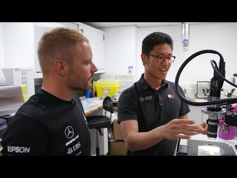 Valtteri checks in with the PETRONAS Motorsports interns in Brackley!