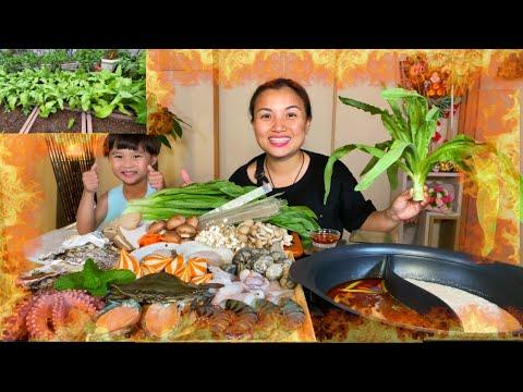 Thét ra lửa với nồi lẩu hải sản cay 2 ngăn Nhật-Trung nhúng rau Tiến Vua nhà trồng #935