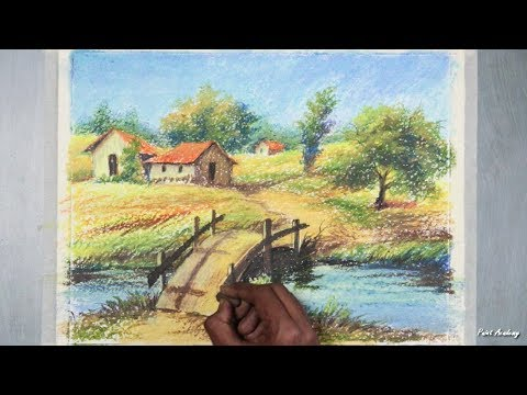 How to Paint A Beautiful Village Landscape in Oil Pastel step by step video