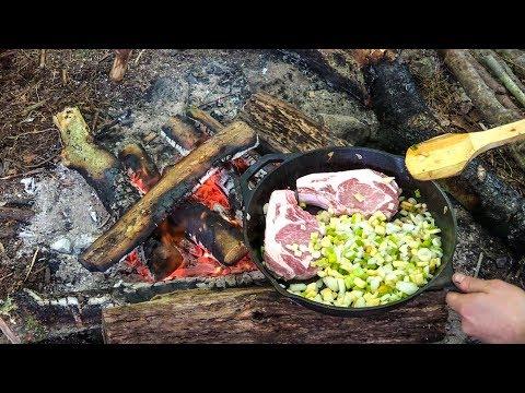 Bushcraft MeatFest! - Salmon, NY Strip Steaks, Bone In Pork Chops, Field Garlic