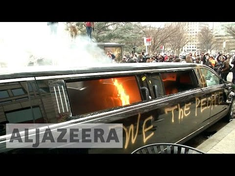 Protests turn violent at Trump's oath ceremony