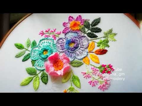 Dimensional embroidery | how to embroider a flower wool