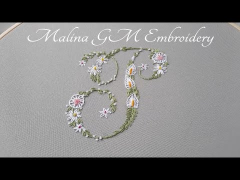 Flower letter P  How to embroider a letter  Simple stitches