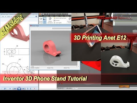 Inventor 3D Printing Design Phone Stand Modeling Tutorial
