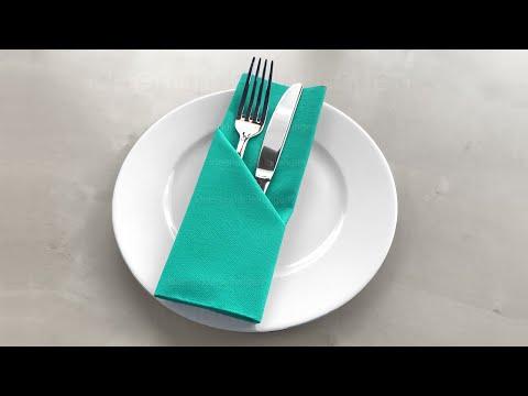 Servietten falten Bestecktasche - Tischdeko basteln für Ostern, Hochzeit, Weihnachten