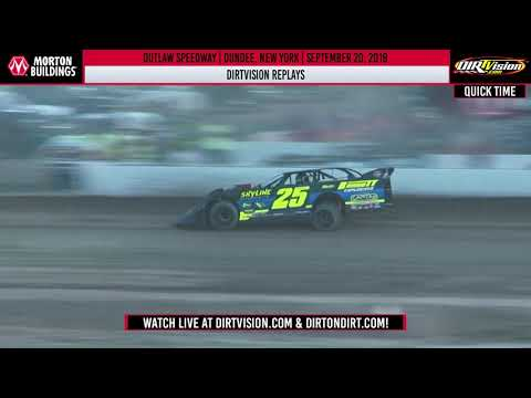 DIRTVision Replays from Outlaw Speedway in Dundee, New York on September 20th, 2019 - World of Outlaws Morton Buildings Late Models - dirt track racing video image