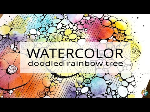 watercolor and rainbow tree doodles