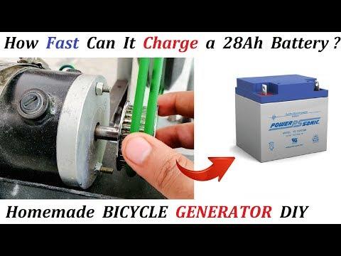 Charging 12V Battery using 220V Generator Bicycle - Amazing Idea