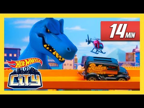T-Rex and Raptors Take Over Hot Wheels City!   Hot Wheels City   Hot Wheels