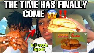 TRIED POPEYES NEW CHICKEN SANDWHICH FOR THE FIRST TIME!!/MUKBANG