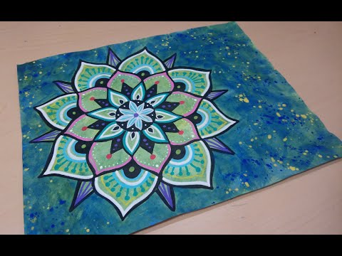 Mandala Doodle Drawing with Paint Markers on Painted Paper