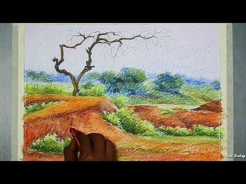 Oil Pastel Landscape Painting | Red Soil Landscape