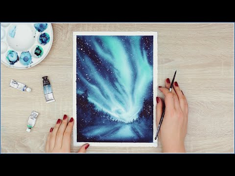How to Paint Northern Lights with Watercolors | Watercolor Painting Ideas