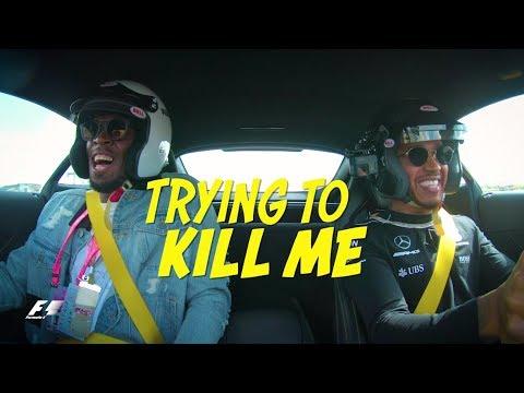 Lewis Hamilton vs. Usain Bolt - Crazy AMG Onboard Action in Austin!