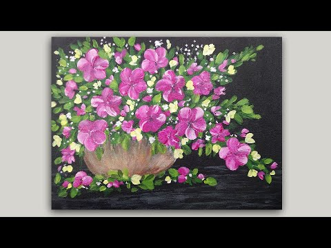 Pink Flowers in a Vase Acrylic Painting Tutorial