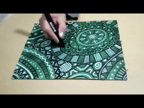 Doodling with Black & White Paint Markers Circular Doodle Patterns Zendoodling