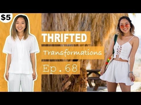 DIY Lace-up Top + Flared Shorts Set | Thrifted Transformations Ep. 68