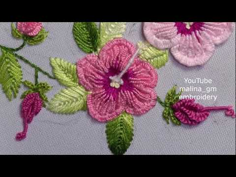 Brazilian embroidery: Fly Stitch Leaf & bud FOR Sudanese rose
