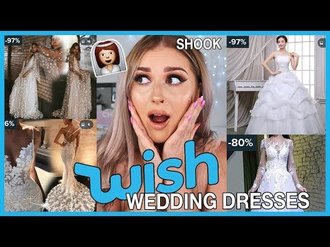 Trying on WISH APP Wedding Dresses! UNDER $40 ? Not bad.....