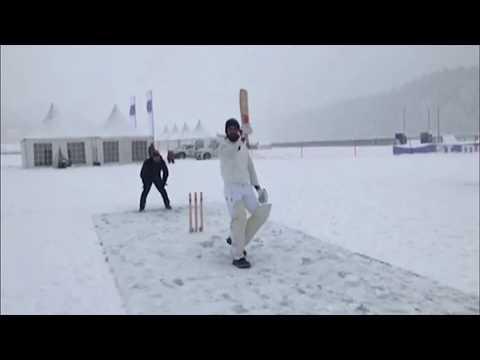 Ranveer plays Cricket on Ice in St. Moritz