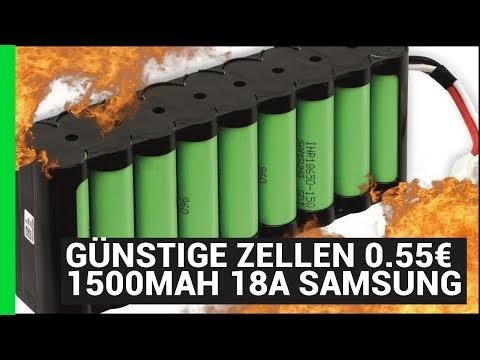 Günstige Zellen 0,55€ 1500mAh 18A 18650 Samsung DIY Ebike Akku unter 100€