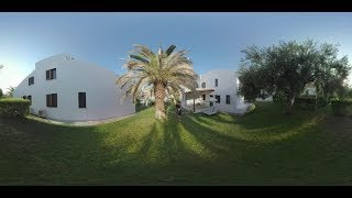 360 VR Dad and Son Walking Outdoor at Trikorfo Beach Resort, Greece   Stock Footage - Videohive