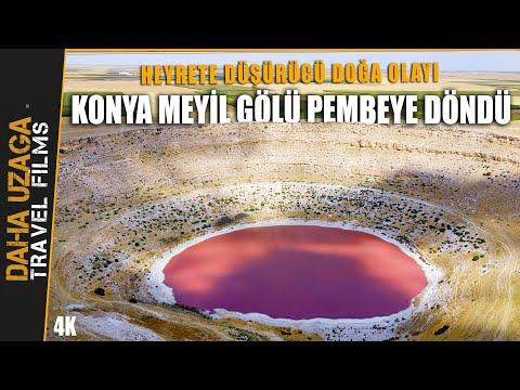 Meyil Gölü, Pembe Renge Büründü. Görenleri Hayrete Düşüren Doğa Olayı. Pembe Göl, Meyil Gölü Konya.