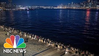 Inspired By Anti-Soviet Protests, Hong Kong Demonstrators Form Citywide Human Chain | NBC News