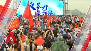 Hong Kong protests: Pro-government supporters rally in Tamar Park
