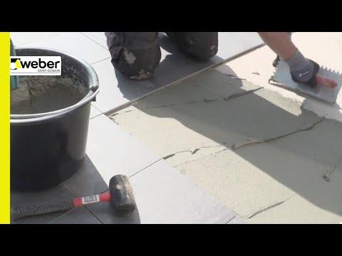 Plattsättning på balkong med weber rock fix