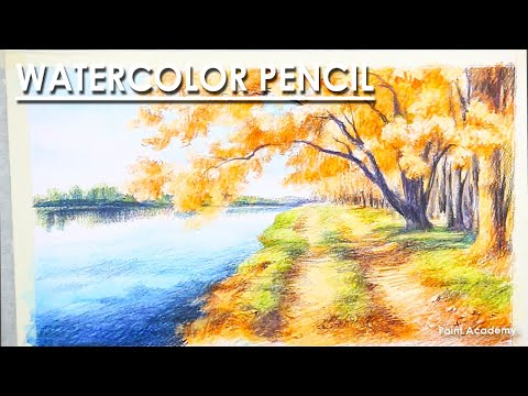Watercolor Pencil : A Composition on Autumn | steps to follow