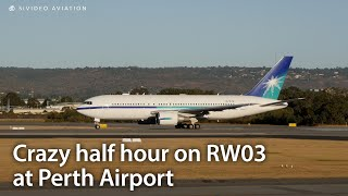 Very busy half hour on RW03 at Perth Airport including Saudi Aramco (N767A) B767 departure.