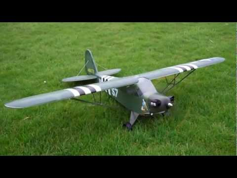 RC Piper J3 Military / L4 Grasshopper Maiden Flight - UCuEmk57S5e0U161Gzs9IRNg