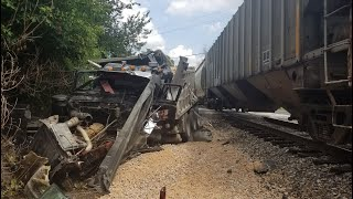 Two people hurt in collision involving train, dump truck in Adams County