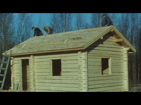 Traditional Finnish Log House Building Process - 16mm Film Scan - English Version - UCcaVClI50rGZmbYMhoSSDGA