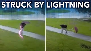 Video shows man get struck by lightning while walking in storm